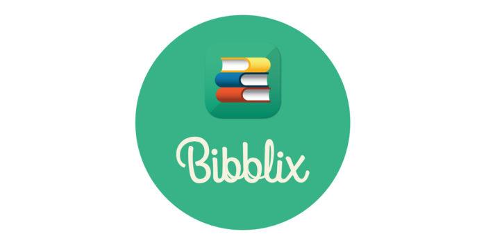 Bibblix logotyp. Grön cirkel med böcker i