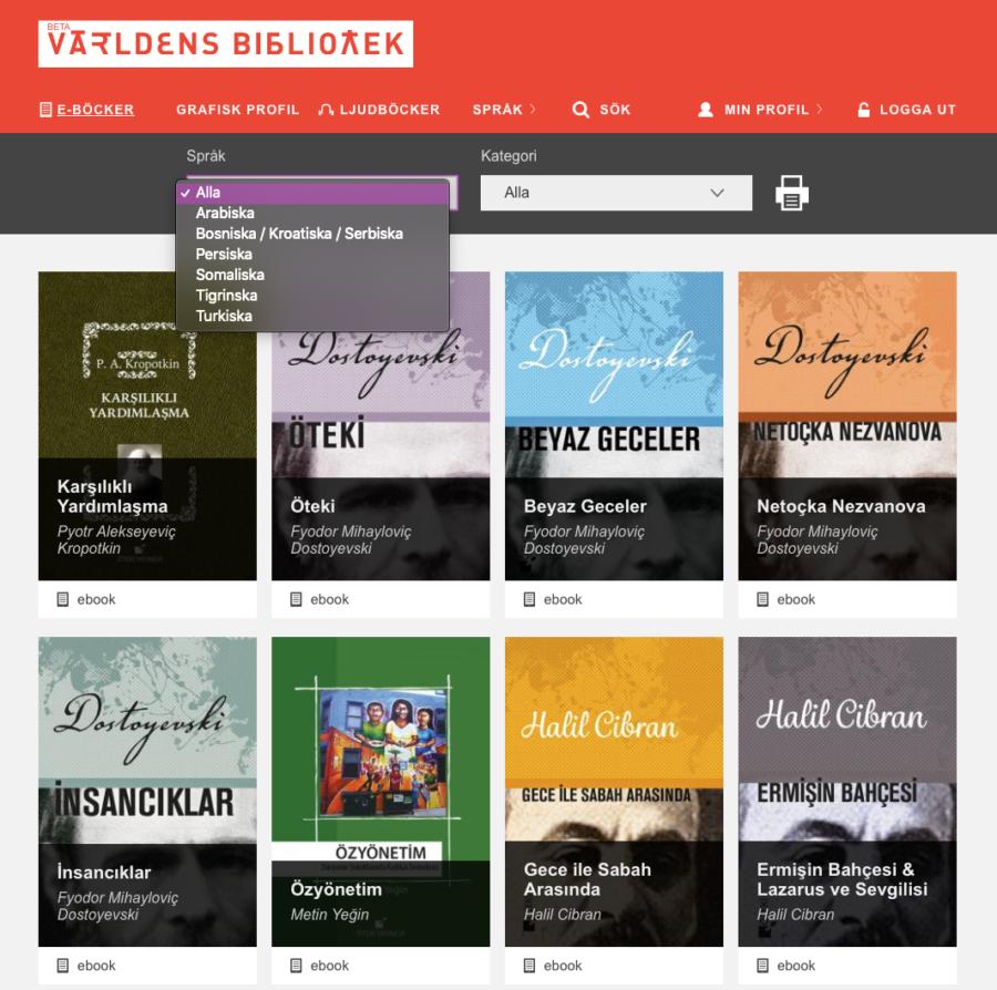 Skärmbild från Världens bibliotek som visar språkval.