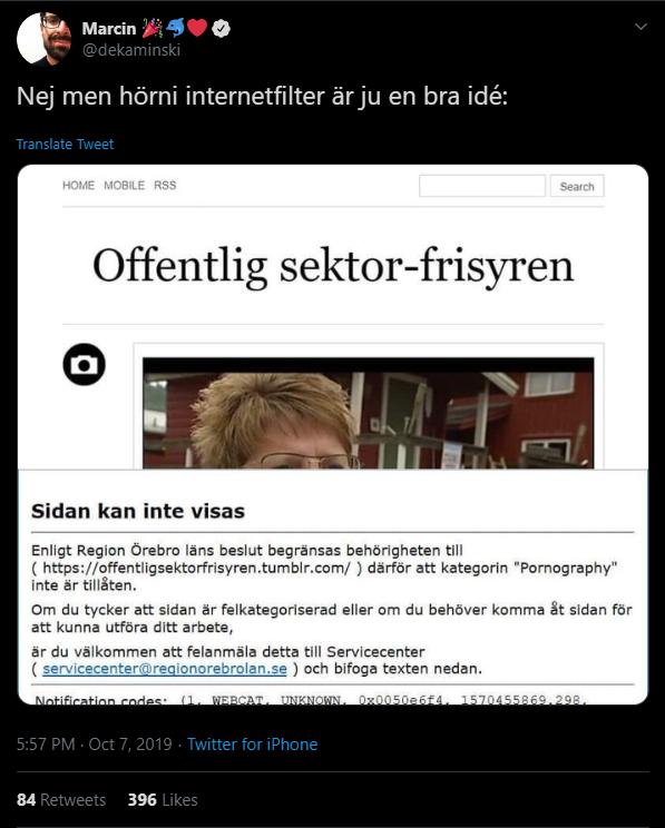 Tweet som visar en skämtsida som blockerats av internetfilter.