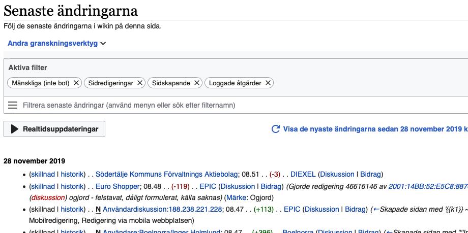 """En skärmbild på wikipedias """"Senaste ändringar""""-sida."""