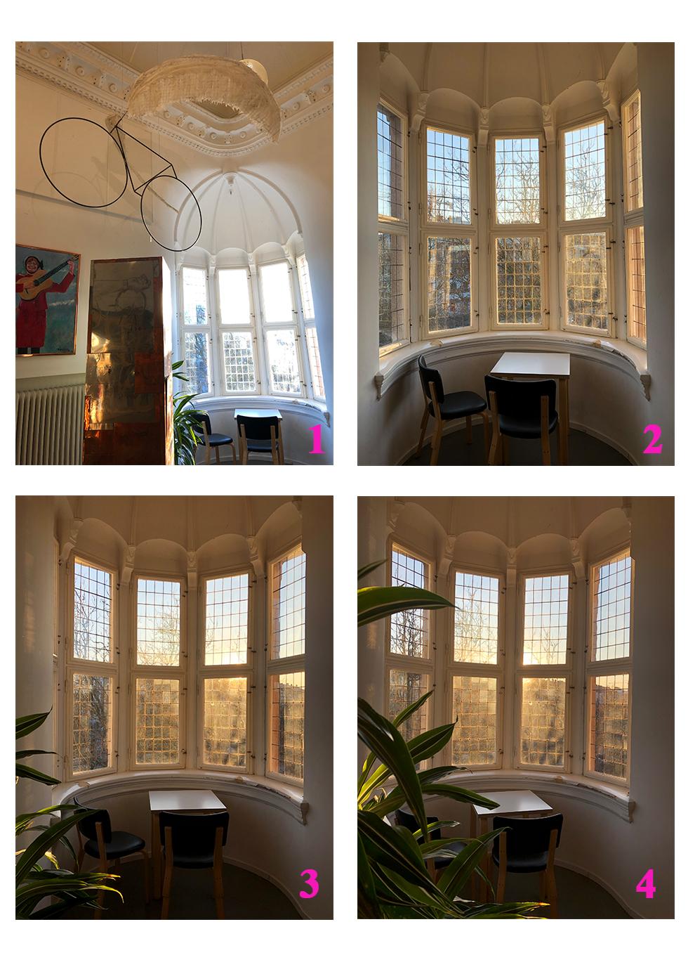 Foto nummer 1: mijöbild med arbetsplats i nedersta högra hörnet. Foto nummer 2: arbetsplatsen i fokus i centern av bilden. Foto nummer 3: Arbetsplatsen i fokus med växt i förgrunden. Foto i nummer 4: arbetsplats i fokus med ännu mer av växten förgrunden.