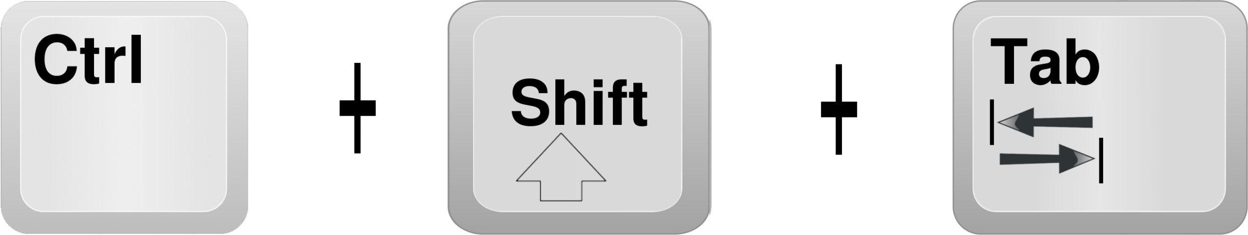 Ctrl +Shift + Tab