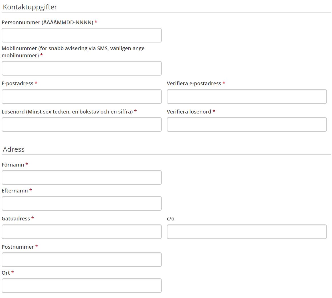 Skärmdump på ett antal fält där man registrerar medlemsskap på en onlineaffär.