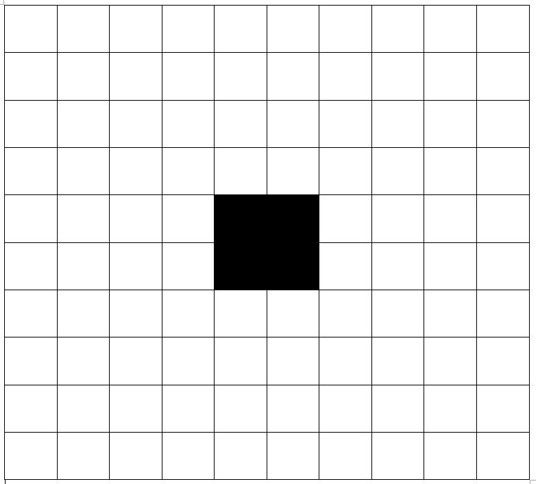 Abstraktion av ett biblioteksrum. Ett rutnät med 10x10 rutor. I centrum, på rutorna 5:5, 5:6, 6:5, 6:6 finns en pelare som inte kan passeras.