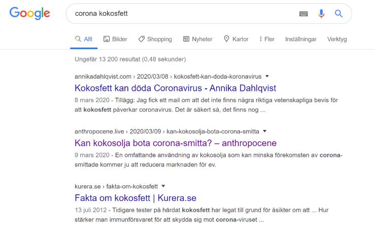 """Google sökresultat """"corona kokosfett"""": """"Kokosfett kan döda coronavirus"""", """"Kan kokosolja bota corona-smitta?"""", """"Fakta om kokosfett""""."""
