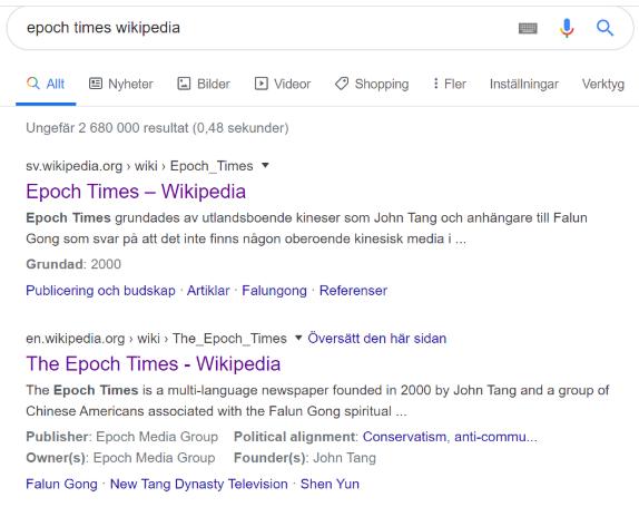 """Sökresultat på google sökterm """"epoch times wikipedia"""": Epoch times wikipedia på svenska och engelska."""