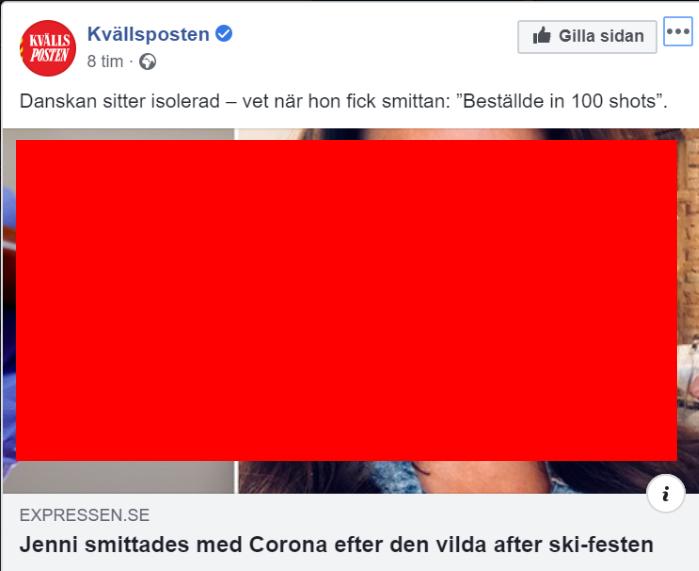 """Kvällsposten: """"Dansken sitter isolerad - vet när hon fick smittan: """"Beställde in hundra shots"""". """"Jenni smittades av corona efter den vilda afterski-festen"""""""