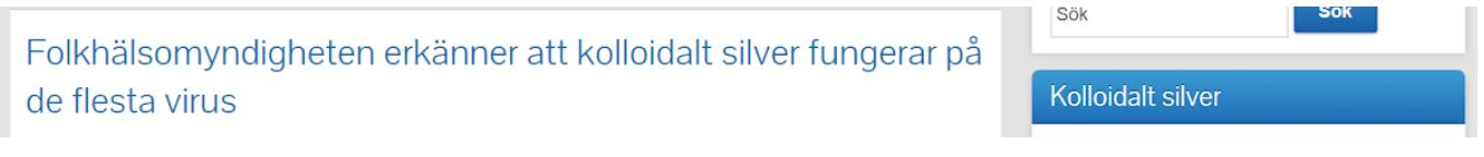 Folkhälsomyndigheten erkänner att att kolloidalt silver fungerar på de flesta virus.