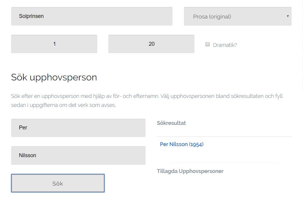 Ansökningsrutan för tillståndssökning på rättighetsorganisationen ALIS webbsida.