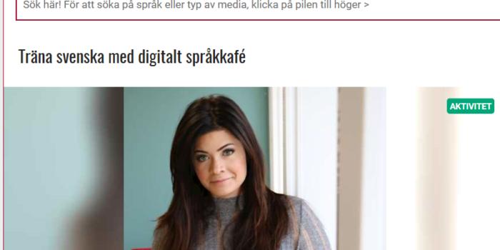 Skärmavbild på sajten Bibliotek Botkyrka som erbjuder digitalt språkcafé.