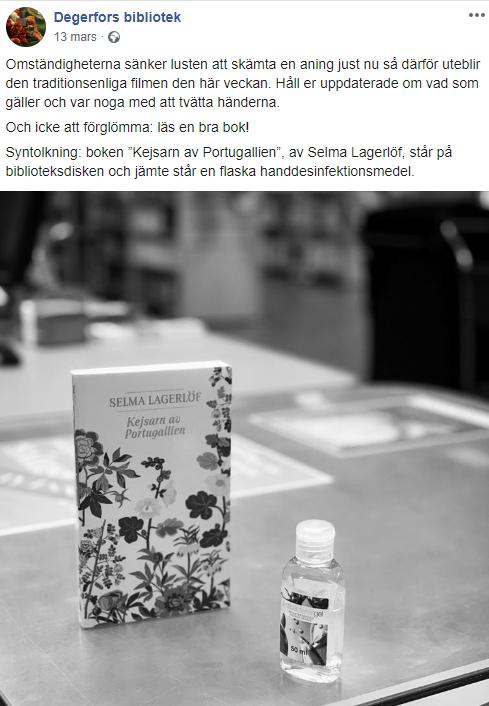 Skärmdump från Degerfors instagramkonto där de konstaterar att det inte är så roligt att skämta nu i coronatider.