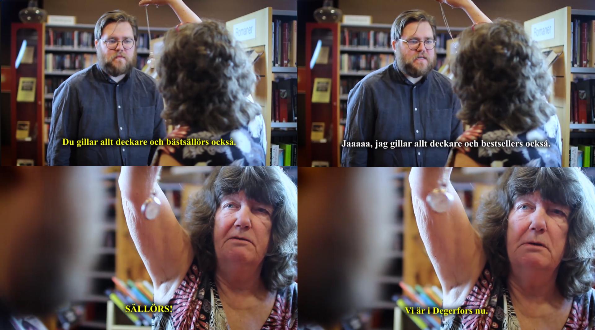 """Skärmdump på fyra rutor ur film av Degerfors bibliotek föreställande en biblioteksmedarbetare som hypnotiserar en kollega. Text i bild ruta ett: """"Du gillar deckare och bästsällörs också."""", text i bild ruta två: """"Jaaaa, jag gillar deckare och bestsellers också."""", text i bild ruta tre: """"SÄLLÖRS!"""", text i bild ruta fyra """"Vi är i Degerfors nu.""""."""