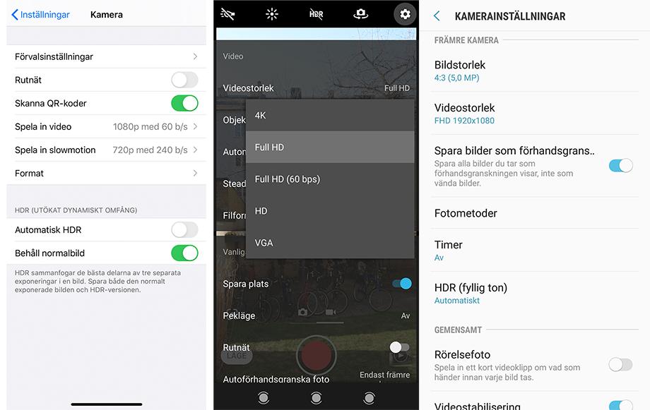 Bild visar kamerainställningar i tre olika mobiler: Iphone, Xperia och Samsung.
