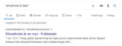 """Sökruta i Google med sökfrågan """"Är klimathotet fejk""""?"""