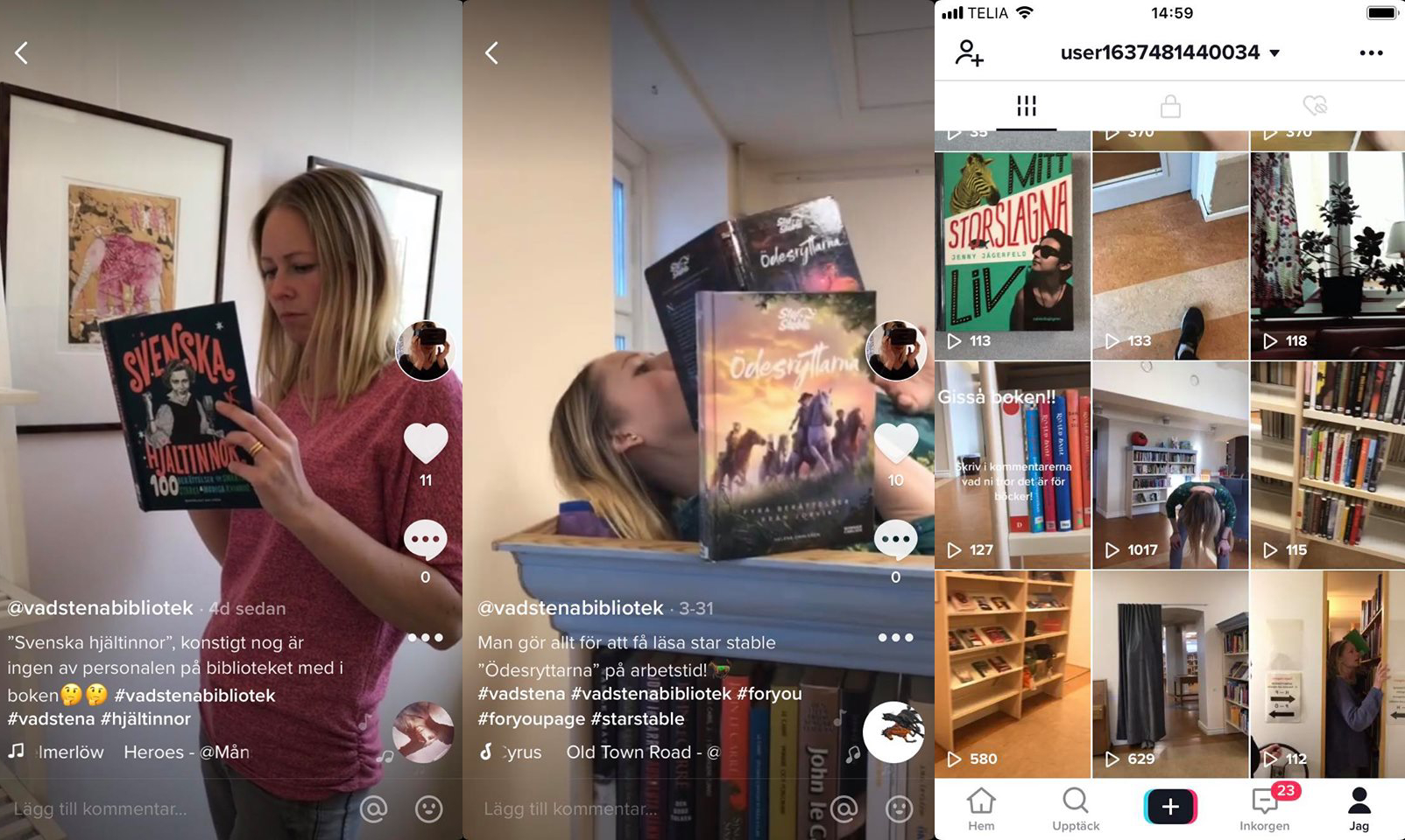 Tre skärmdumpar från Vadstena biblioteks Tik Tok.