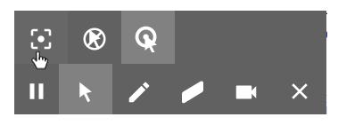 Vertygsfältet. Från vänster: Focos mouse, ingen muspekare, highlight clicks, paus, muspekare, penna, suddgummi, video, stäng.