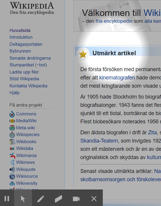 Focus mouse highlightar en del av en webbsida.