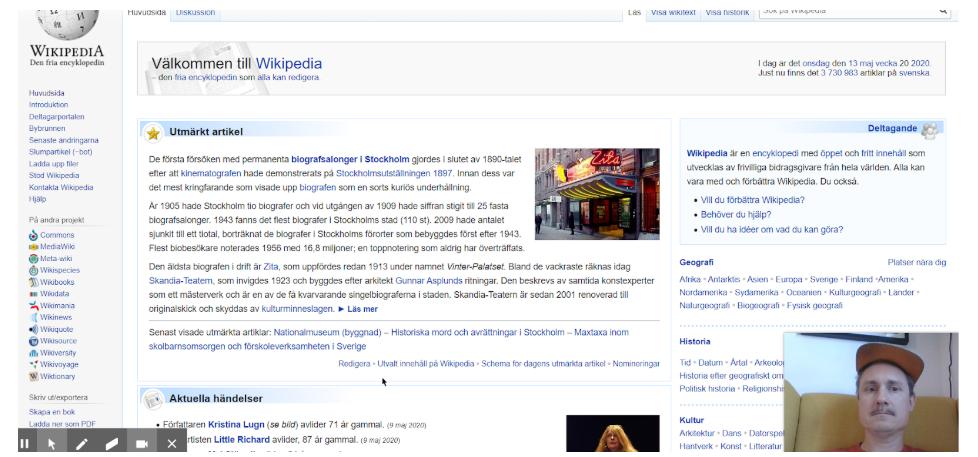 Wikipedia i ett webbläsarfönster med inklippt bildruta på artikelförfattaren längst ner till vänster.