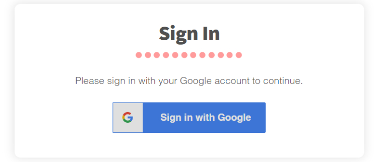 Sign in: Sign in with Google