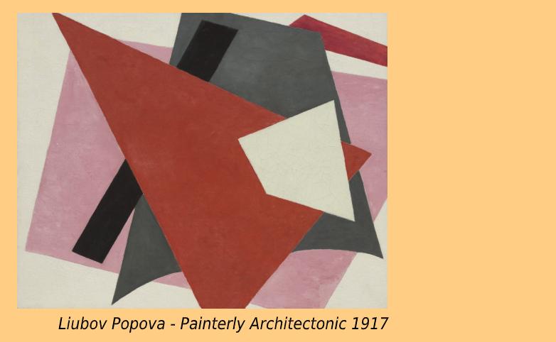 """En abstrakt målning: Olika vita, röda, svarta grå och rosa färgfält som ligger arrangerade på varandra, som olikfärgade papper i ett collage. Under bilden står det: """"Painterly Architectonic av Liubov Popova"""" """""""