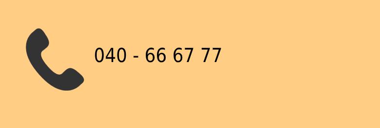 Piktogrambild på gammaldags telefonlur och telefoonummer 040 - 66-67-77