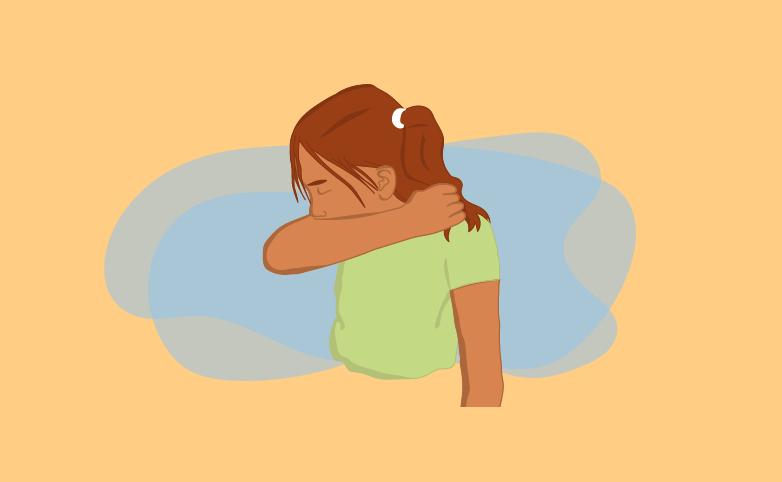 Tecknad bild på flicka som hostar i armvecket.