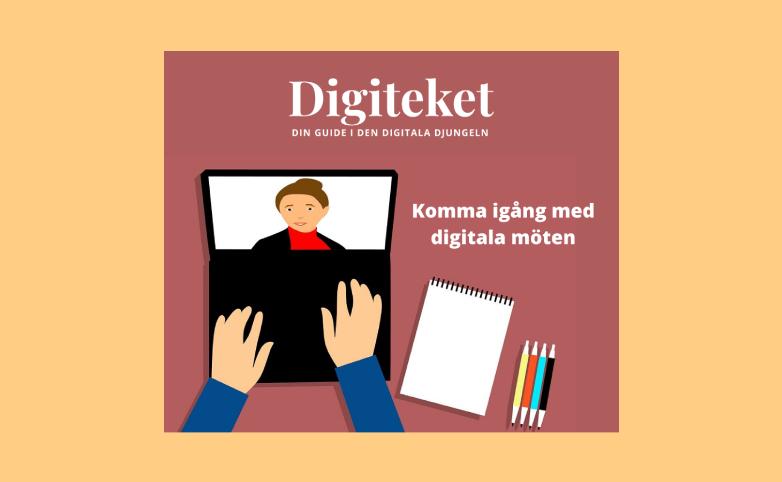 Teaserbild för Digiteketkurs. Tecknad bild på händer som knappar på datortangentbord. Text: Digiteket – Din guide i den digitala djungeln. Komma igång med digitala möten.