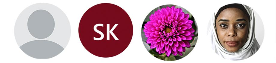 Går profil ikon, initaler, blomma, porträttfoto