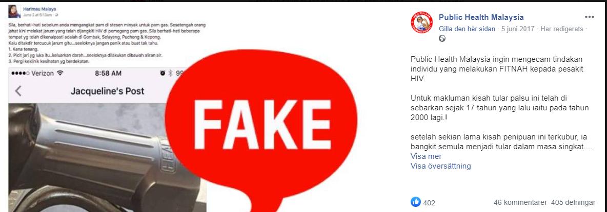 Facebookpost på malaysiska med delat bensinpumpsinlägg och stor text FAKE över.