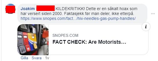 """FAcebook-kommentar: Joakim: """"KILDEKRITIKK! Dette är ett såkalt hoaxsom har versert siden 2000Faktasjekk för man deler, ikke etterpå."""""""
