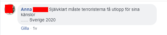 """Facebook-kommentar: Anna: """"Självklart måste terroristerna få utlopp för sina känslor ...Sverige 2020"""""""