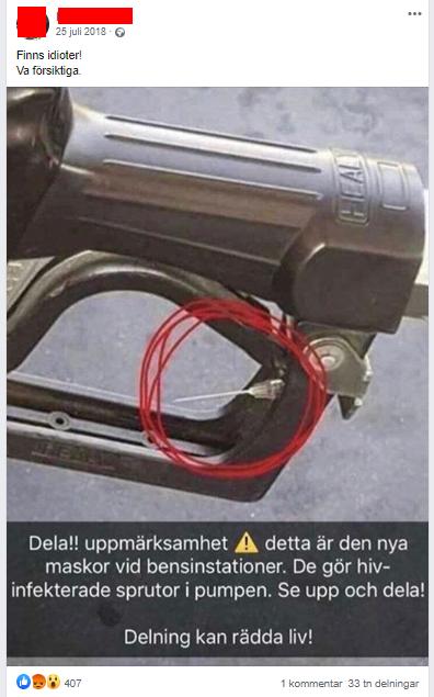 """FB-inlägg: Bensinpumpshandtag med kanyl. Bildtext: """"Delat uppmärksamhet detta är den nya maskor vid bensinstationer. De gör hivinfekterade sprutor i pumpen.Se upp och dela! Delning kan rädda liv!"""""""