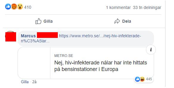 """Facebook-kommentar: """"Metro.se - Nej hiv-infekterade nålar har inte hittats på bensinstationer i Europa."""""""