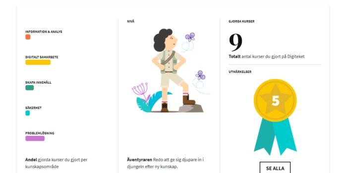 En bild från en användares statistik på Digiteket. Bilden visar användarens avatar och ger information om hur många kurser som gjorts och utmärkelser som uppnåtts.
