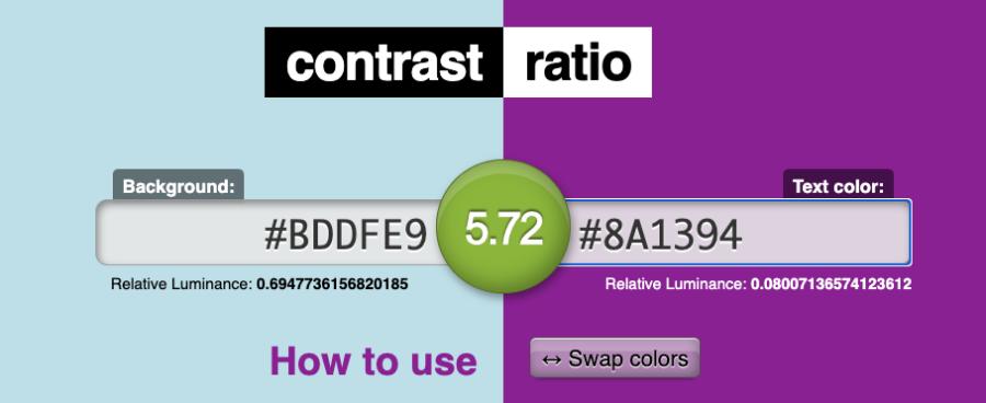 Kontrasten anses vara är tillräcklig mellan två färger.