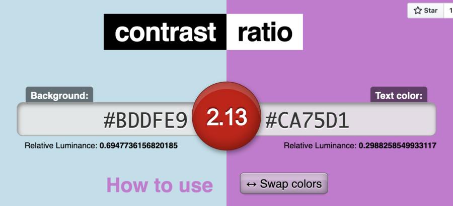 Kontrasten mellan två färger är inte tillräckligt hög.