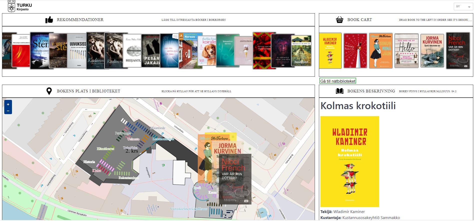 Åboks gränssnitt består av ett antal boktitlar i överkant, nokkorg med valda böcker i till höger och en karta över bokens placering på biblioteket till vänster.