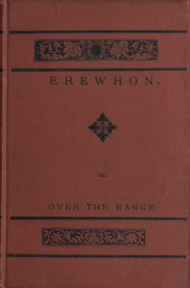 Ett rött bokomslag till Erewhon.