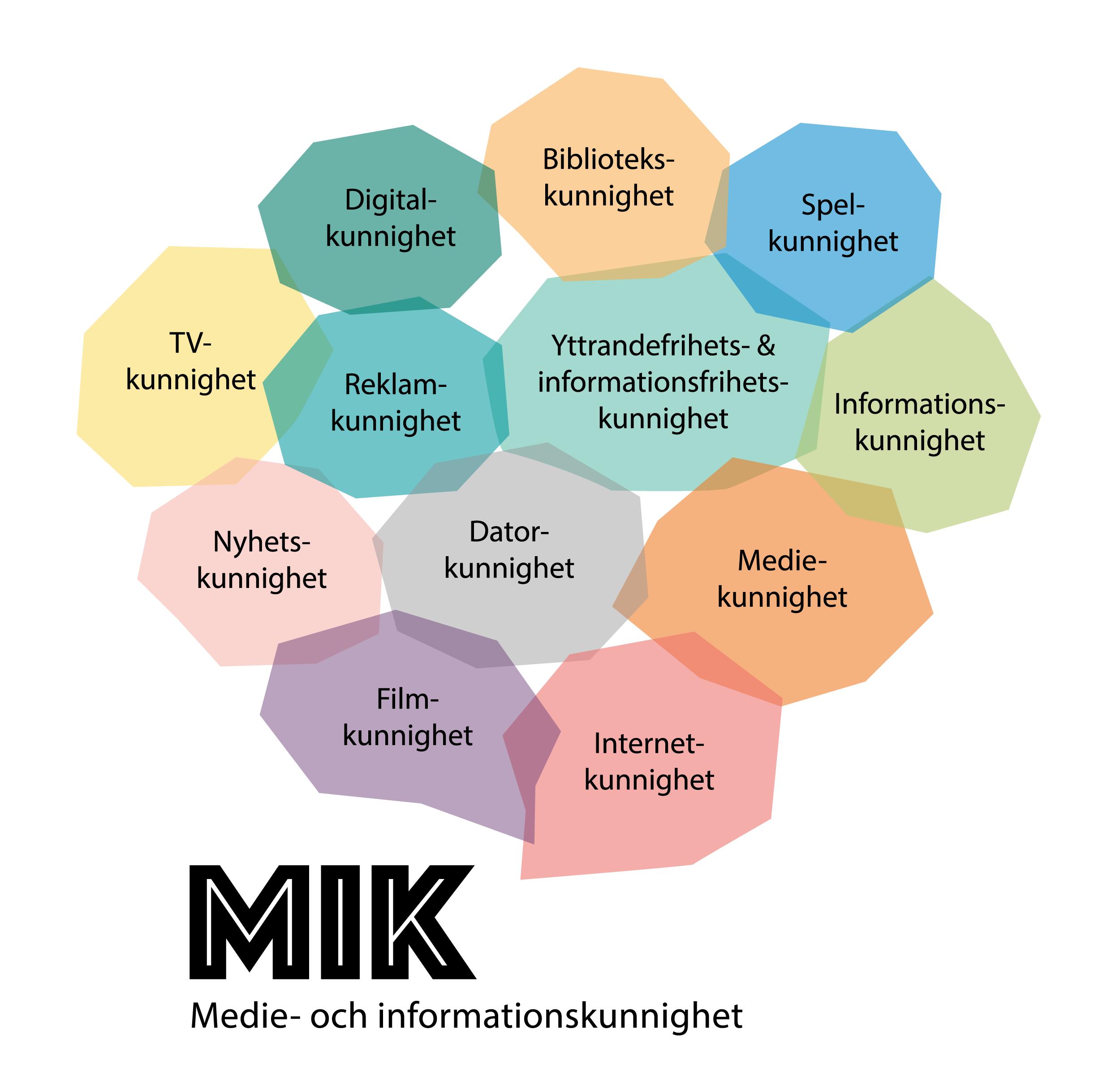 Bild som illustrerar alla delar som ingår i MIK: Digital kunnighet, TV-kunnighet, Nyhetskunnighet, Filmkunnighet,Internetkunnighet, Mediekunnighet, Infor,ationskunnighet, Spelkunnighet, Datorkunnighet, Reklamkunnighet, Spelkunnighet, Bibliotekskunnighet, Yttrandefrihets- och informationsfrihetskunnighet.