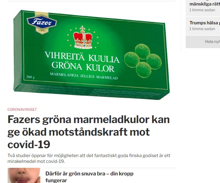 """Sydsvenskan: Bild på Fazera gröna kulor och rubrik: """"Fazers gröna kulor kan ge ökad motståndskraft mot Covid-19""""."""