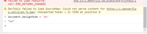 "Console-vyn: Prompt: ""document.designMode = 'on'"" Svar: ""On"""