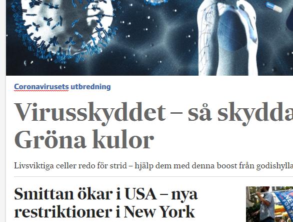 """Tidningrubrik: """"Virusskyddet - Så skyddar gröna kulor."""""""