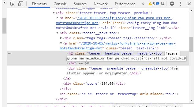 """Rubriken ändrad i html-vyn i Inspect till """"Fazers gröna marmeladkulor.."""""""