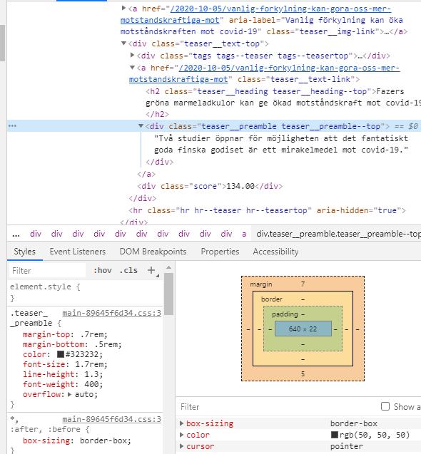 """Ingressen markerad i html-visaren i Inspect och ändrad till """"Två studier öppnar för möjligheten att fantastiskt goda godiset är ett mirakelmedel mot Covid-19"""""""