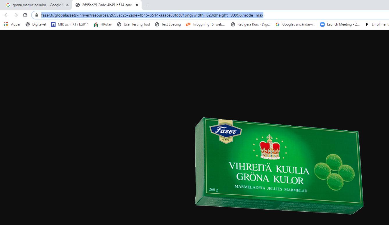En bild på Fazera gröna marmeladkulorask och dess webbaddress markerad.