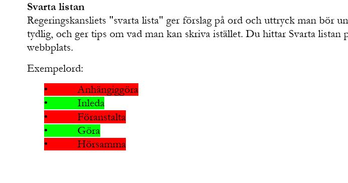 Rödmarkerade och grönmarkerade ord i en lista.
