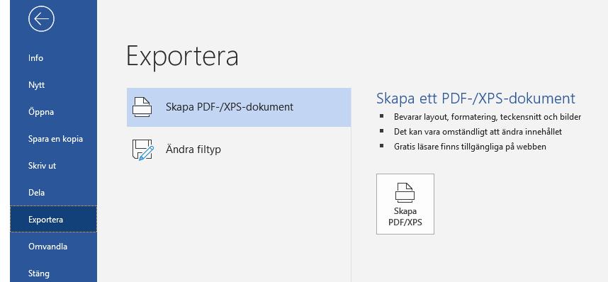 Exportera. Skapa PDF/XPS-Dokument