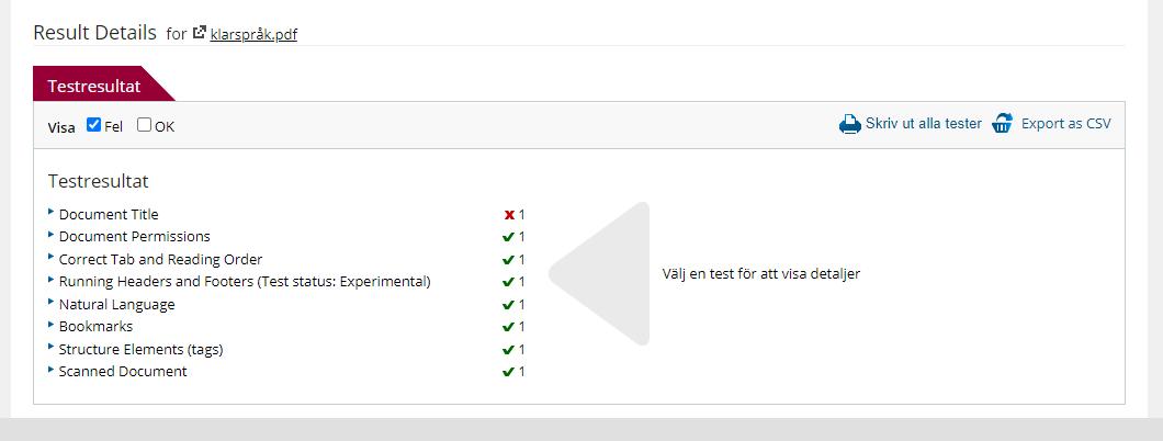 Testresultat Tngtun checker. Godkänt på ett antal kriterier förutom dokumenttitel.