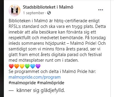 Biblioteken i Malmö är hbtq-certifierade enligt RFSL:s standard och ska vara en trygg plats. Detta innebär att alla besökare kan förvänta sig ett respektfullt och medvetet bemötande. På torsdag inleds sommarens höjdpunkt – Malmö Pride! Och samtidigt som vi minns förra årets parad, ser vi glatt fram emot årets digitala parad och festival med mötesplatser runt om i staden. ❤️🧡💛💚💙💜 Se programmet och delta i Malmö Pride här: malmopride.com/program #malmopride #malmöpride