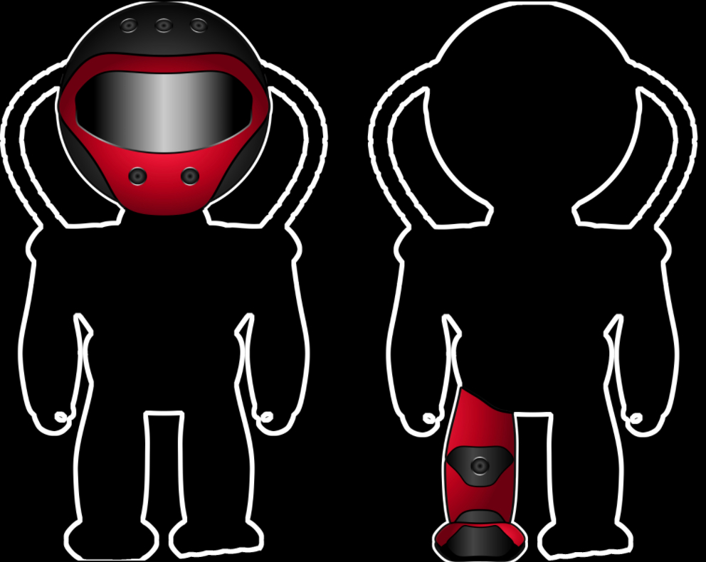 Två siluetter av figurer. Den vänstra med utritad hjälm och den högra med utritat vänsterben.